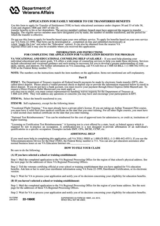 Va Form 22-1990e - Application For Family Member To Use ...