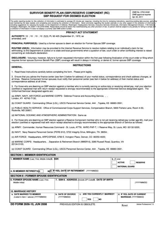 Fillable Dd Form 2656-10 - Survivor Benefit Plan (Sbp)/reserve Component (Rc) Sbp Request For Deemed Election - June 2008 Printable pdf