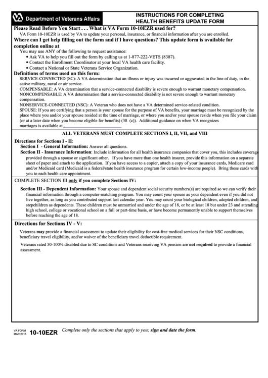 Va Form 10-10ezr - Health Benefits Update Form printable pdf download