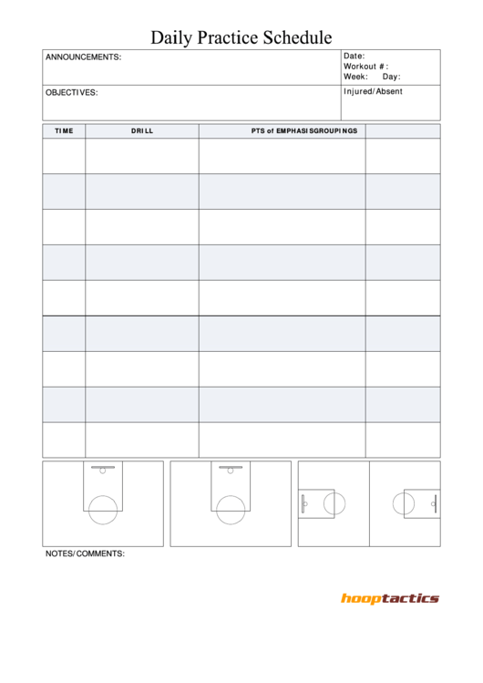 daily practice schedule template printable pdf download