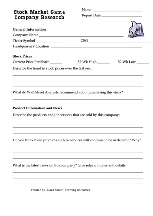 stock market game company research worksheet printable pdf download. Black Bedroom Furniture Sets. Home Design Ideas