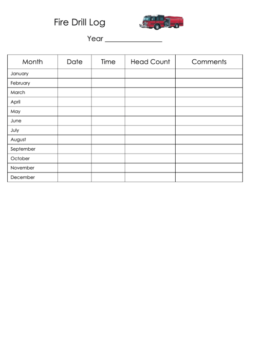 fire drill log template printable pdf download