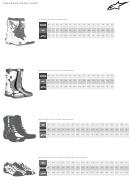 Alpinestars Footwear Sizing Chart