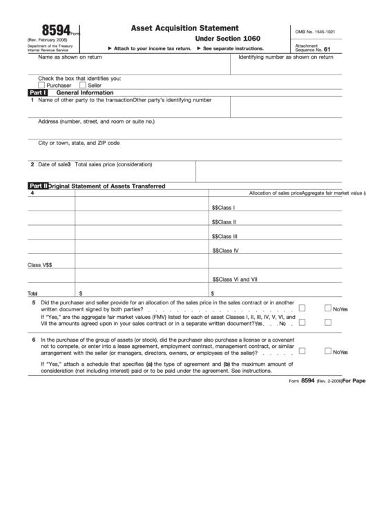 Fillable Form 8594 (Rev. February 2006) - Asset ...