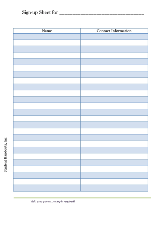 Sign-up Sheet Template With Contact Information