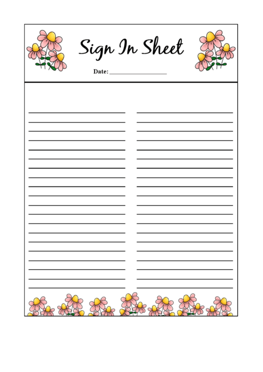 Fillable Sign In Sheet Template Printable pdf