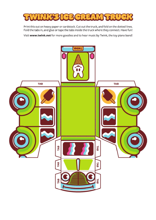foldable ice cream truck template printable pdf download