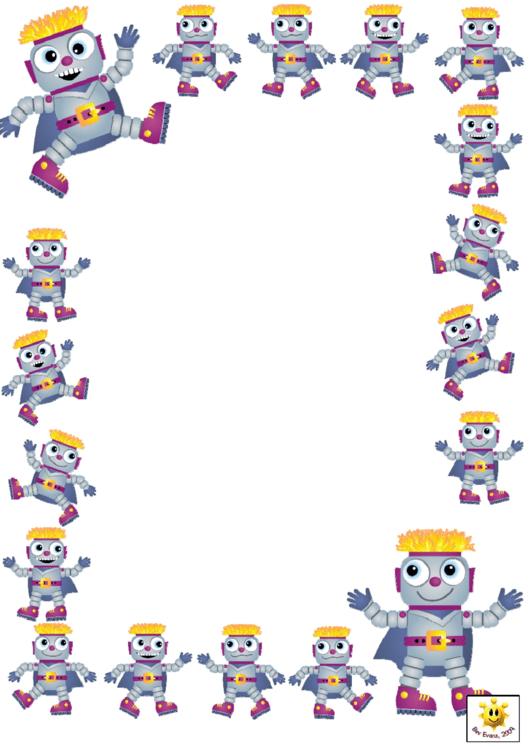 Robot Page Border Template Printable pdf