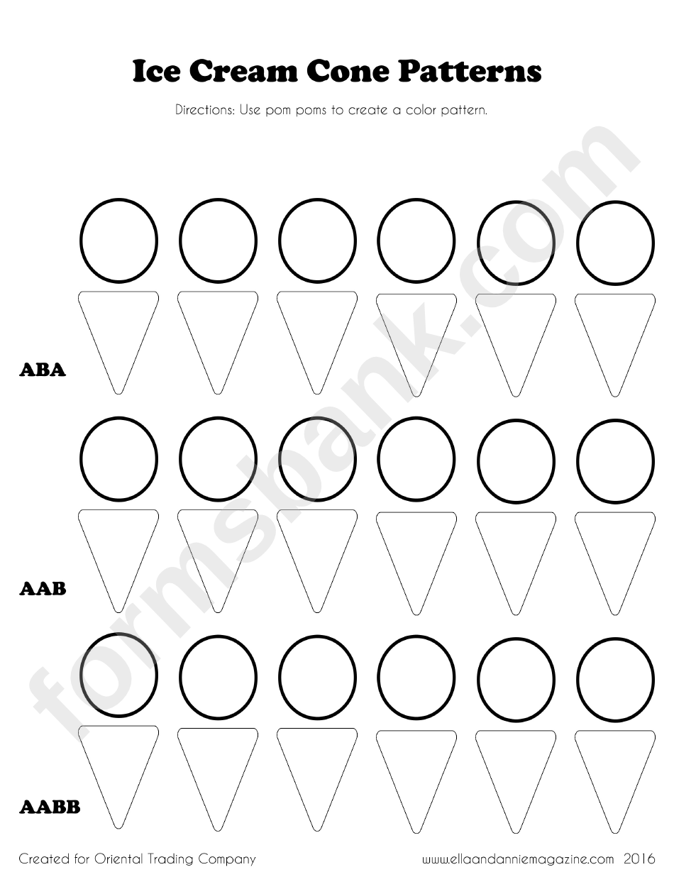 Ice Cream Cone Pattern Templates Printable Pdf Download