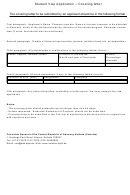 Student Visa Application Cover Letter