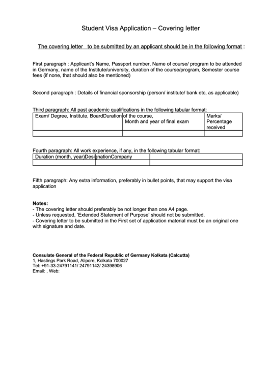 Student Visa Application Cover Letter Printable pdf