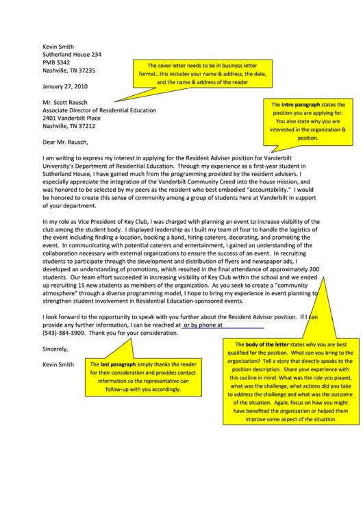 Resident Adviser - Sample Cover Letter Printable pdf