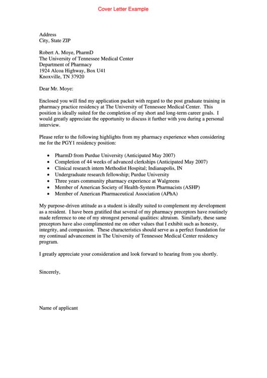 Sample Pharmacy Cover Letter Template