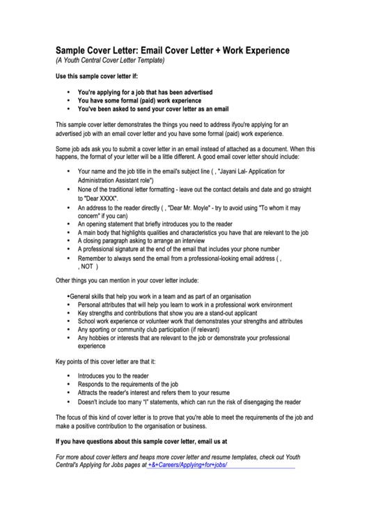 Sample Email Cover Letter Template Printable pdf