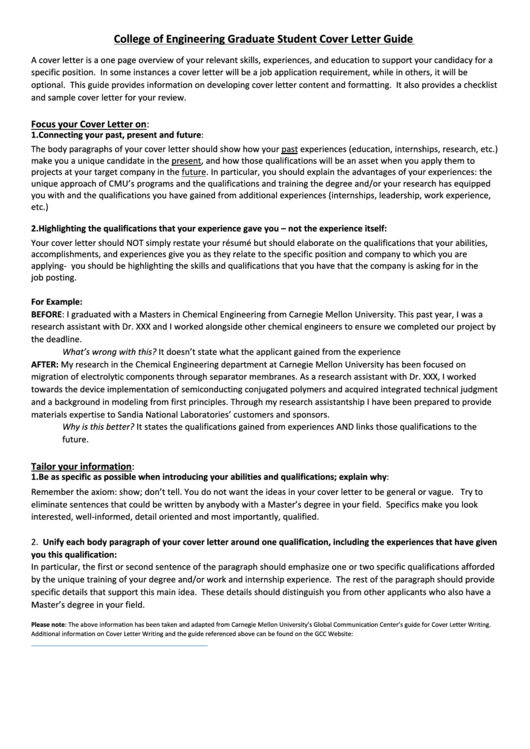 College Of Engineering Graduate Student Cover Letter Printable pdf