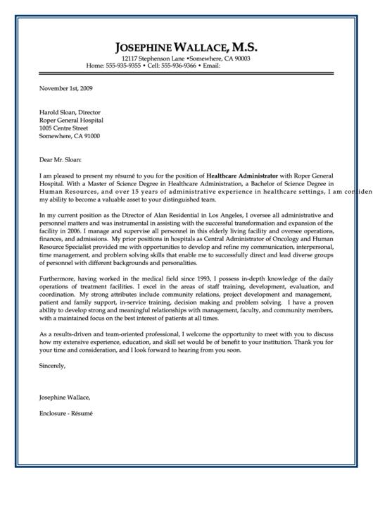 Sample Healthcare Cover Letter Printable pdf