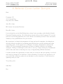 Referral Sample Application Cover Letter Template
