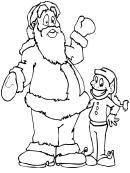 Santa And Elf Coloring Sheet