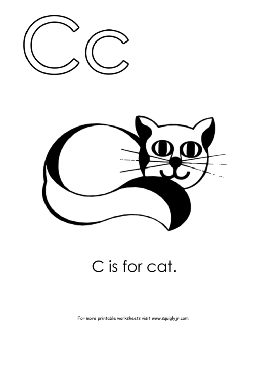 letter c template  c is for cat printable pdf download