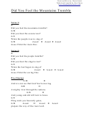 Did You Feel The Mountains Tremble (d) Chord Chart