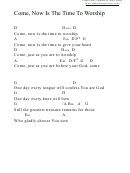 Come, Now Is The Time To Worship (d) Chord Chart
