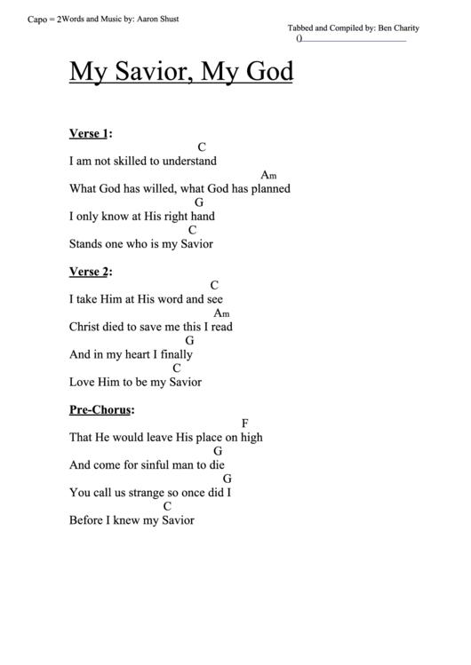 My Savior, My God (C) Chord Chart Printable pdf
