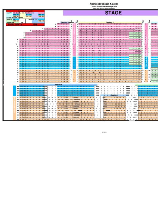 Spirit Mountain Casino - 3 Tier Price Level Seating Chart