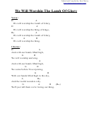 Chord Chart - We Will Worship The Lamb Of Glory (d)