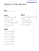 Refuse To Be Denied (d) Chord Chart