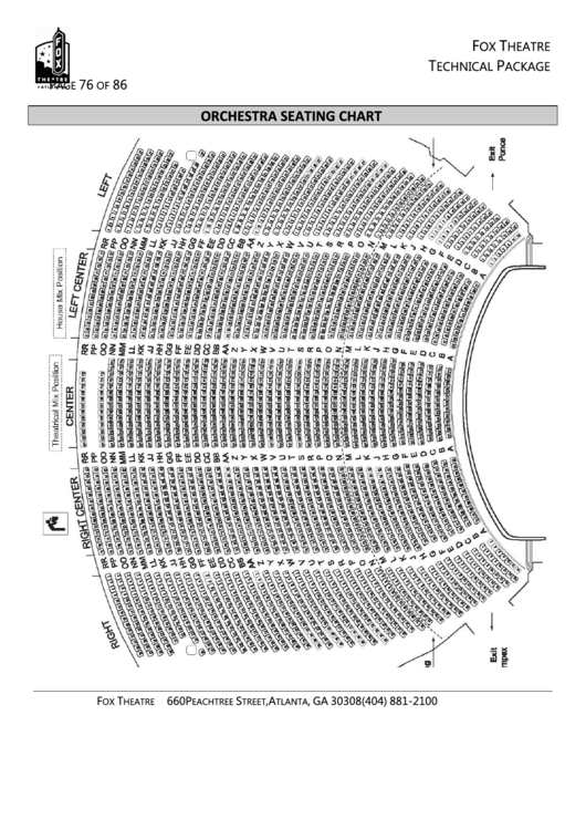 Fox Theatre Seating Chart Printable Pdf Download