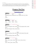 Prepare The Way (eb) Chord Chart