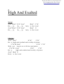 High And Exalted (e) Chord Chart