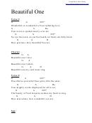 Beautiful One (g) Chord Chart