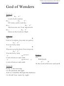 God Of Wonders (g) Chord Chart