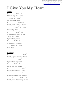 I Give You My Heart (g) Chord Chart
