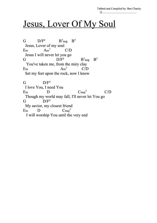 Jesus Lover Of My Soul G Chord Chart Printable Pdf Download