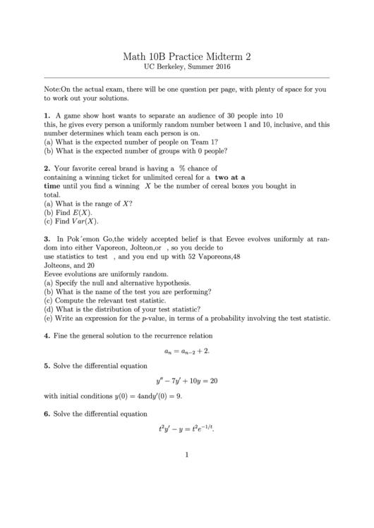Math 10b Practice Midterm 2