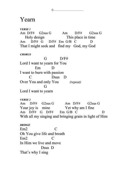 Yearn Chord Chart printable pdf download