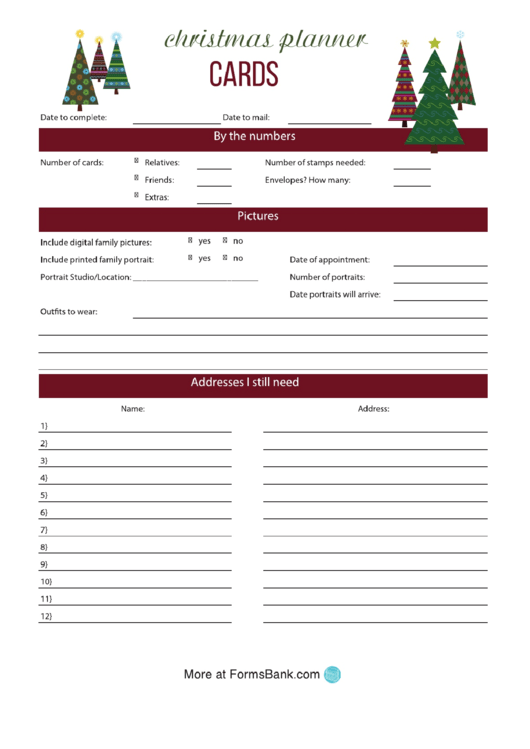 Christmas Cards Planner Template