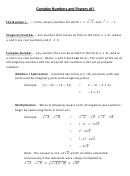 Imaginary And Complex Numbers Practice