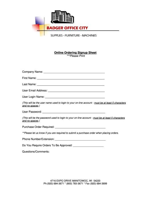 Online Ordering Signup Sheet