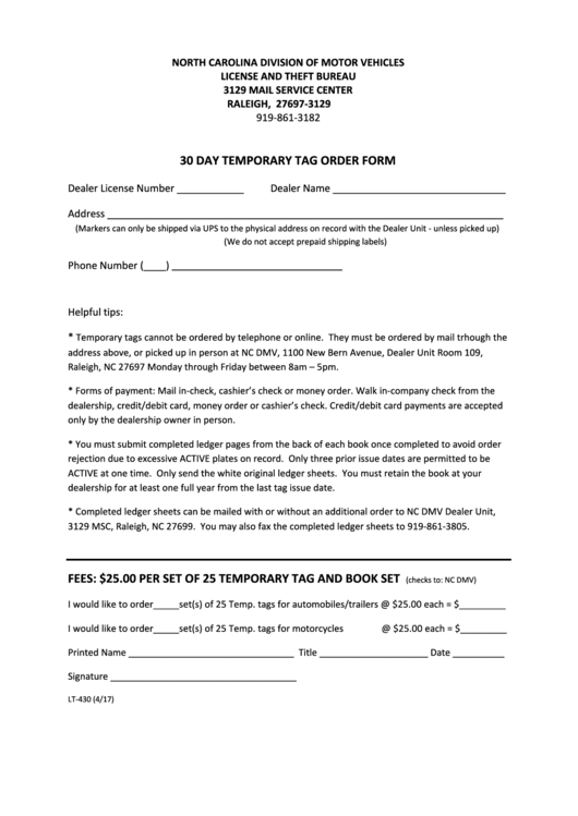 30 Day Temporary Tag Order Form