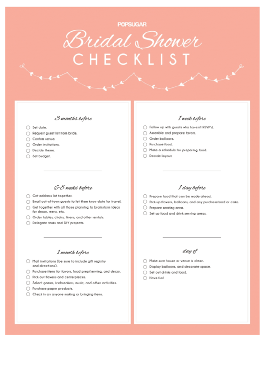 bridal shower checklist printable pdf download