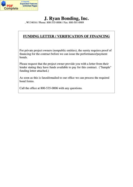 Funding Letter Verification Of Financing Letter Template Printable