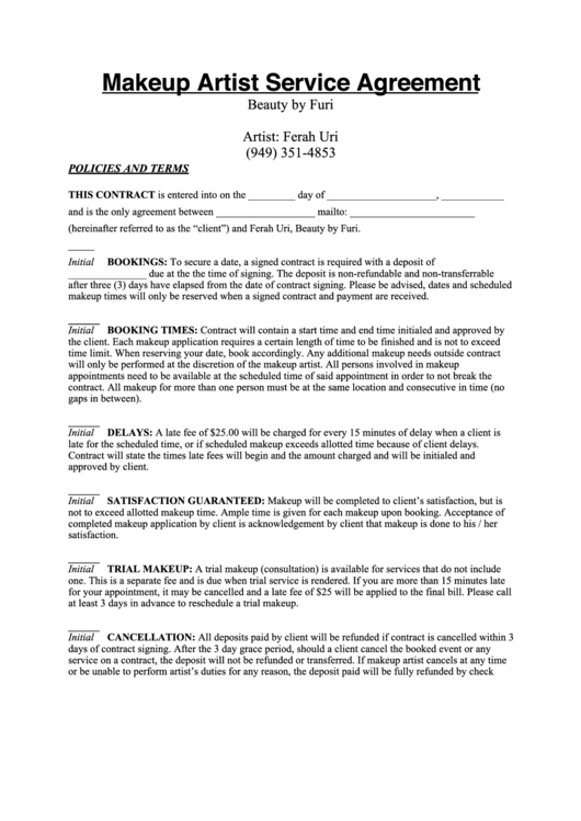 makeup artist service agreement printable pdf download
