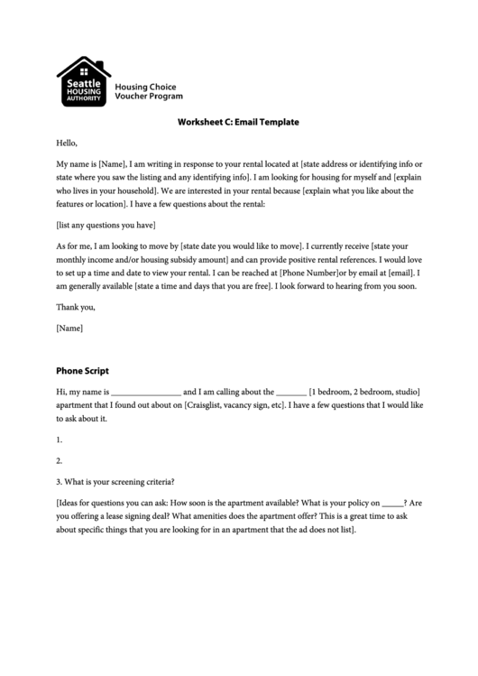 Rental Inquiry Email Template printable pdf download