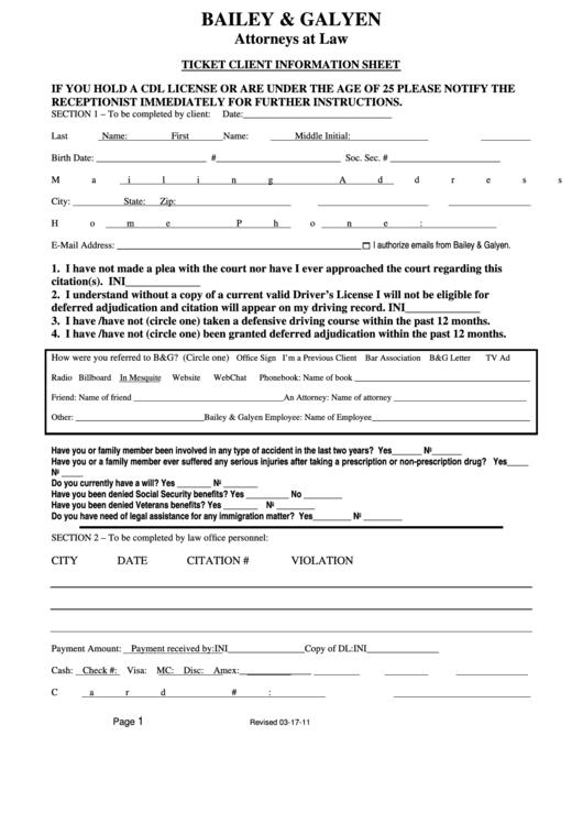 Ticket Client Information Sheet Printable pdf