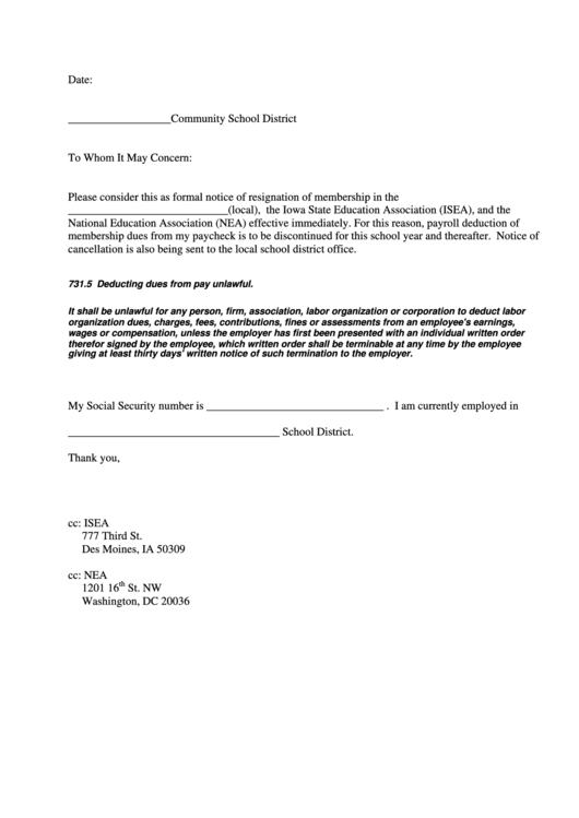 Membership Resignation Letter Template