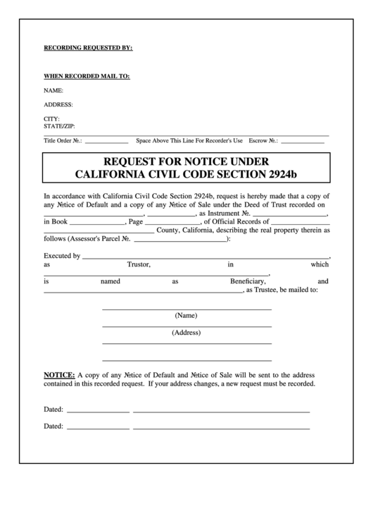 Fillable Request Form For Notice Under California Civil ...