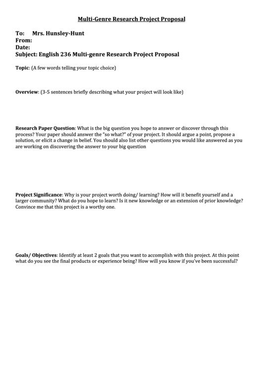 Multi Genre Research Paper Proposal